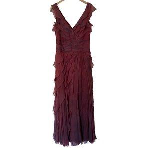 Tadashi Shoji 100% Silk Ruffle Tiered Long Gown